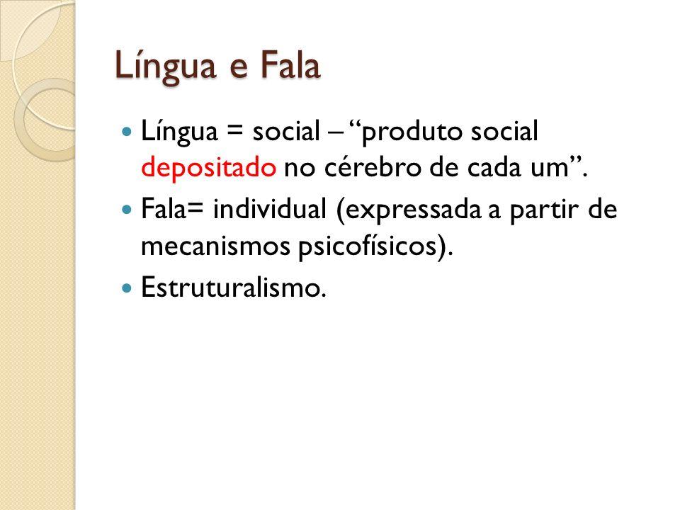 Língua e Fala Língua = social – produto social depositado no cérebro de cada um .