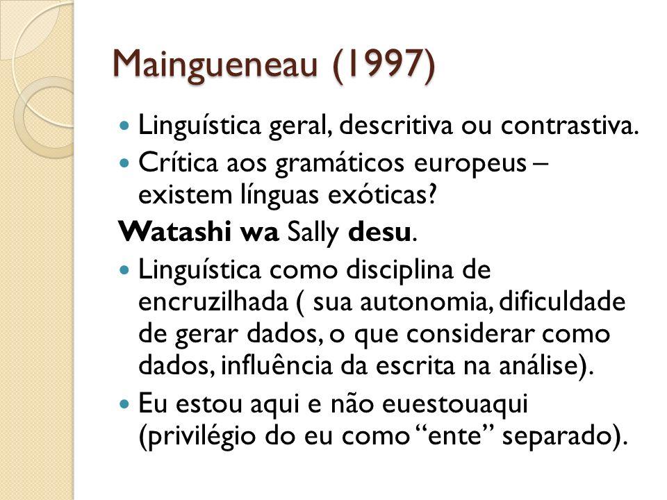 Maingueneau (1997) Linguística geral, descritiva ou contrastiva.