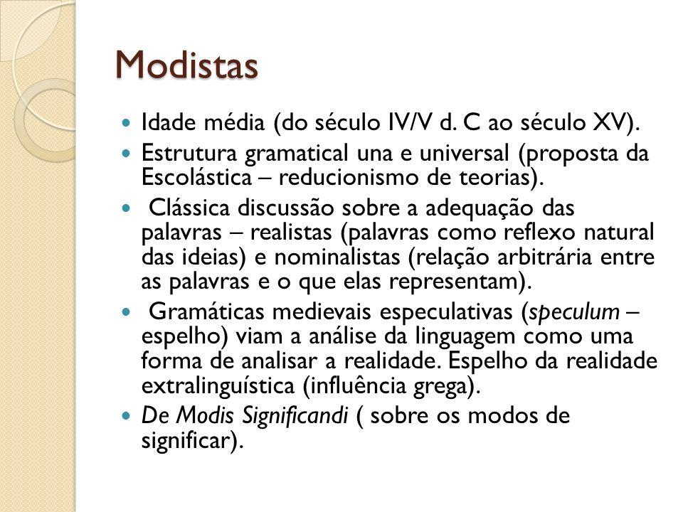 Modistas Idade média (do século IV/V d. C ao século XV).