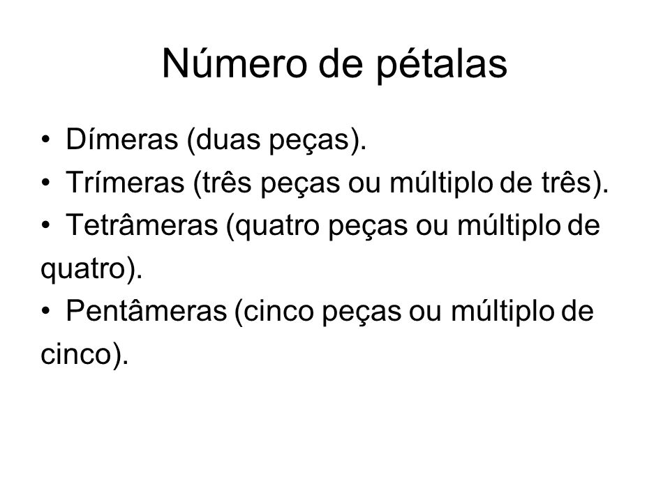 Número de pétalas Dímeras (duas peças).