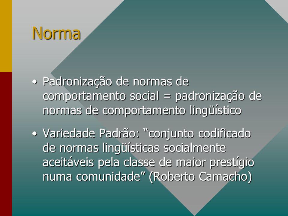 Norma Padronização de normas de comportamento social = padronização de normas de comportamento lingüístico.