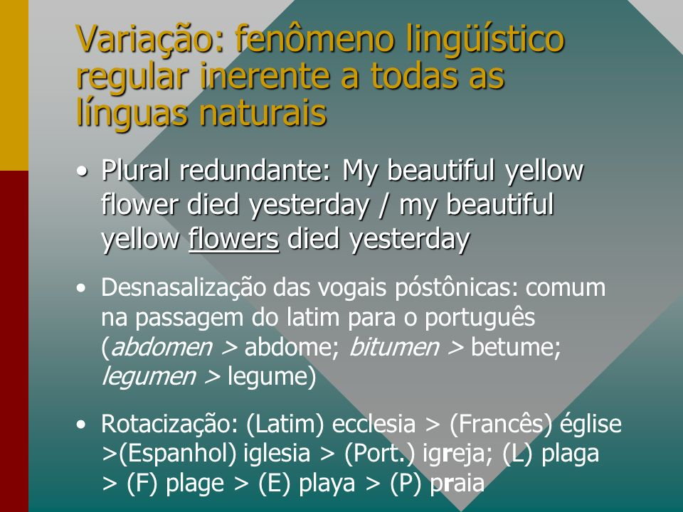 Variação: fenômeno lingüístico regular inerente a todas as línguas naturais