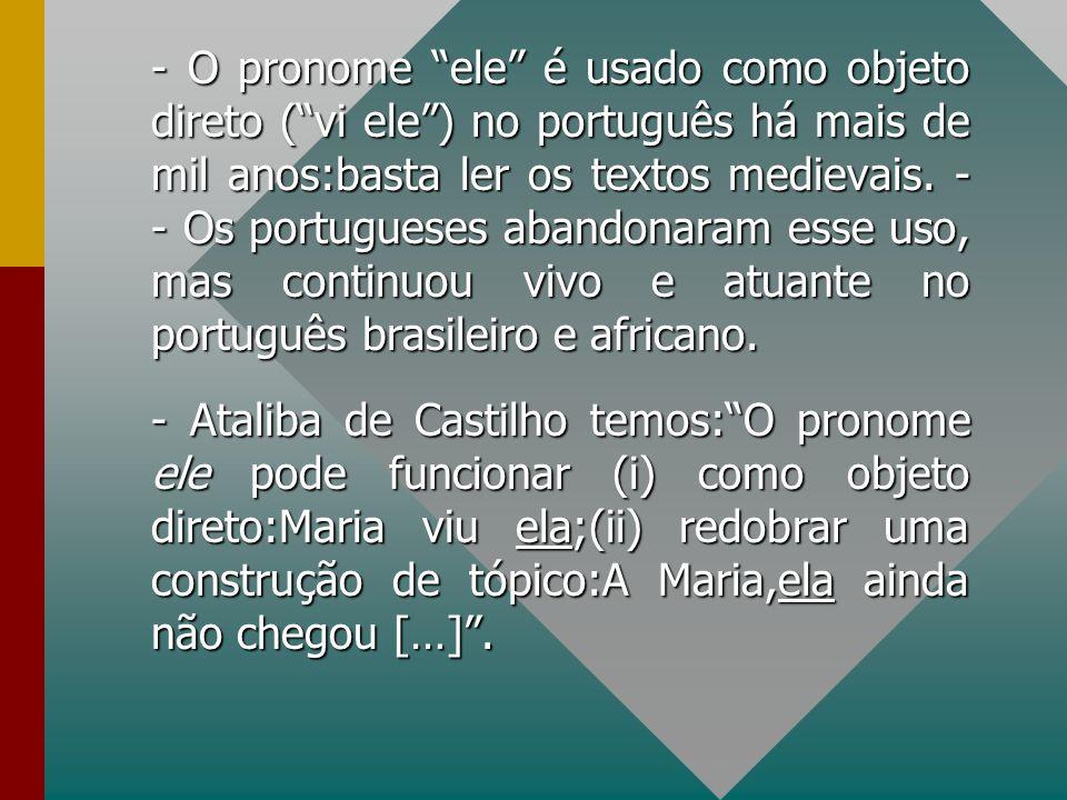 - O pronome ele é usado como objeto direto ( vi ele ) no português há mais de mil anos:basta ler os textos medievais.