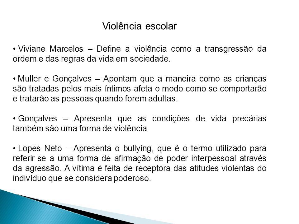Violência escolar Viviane Marcelos – Define a violência como a transgressão da ordem e das regras da vida em sociedade.