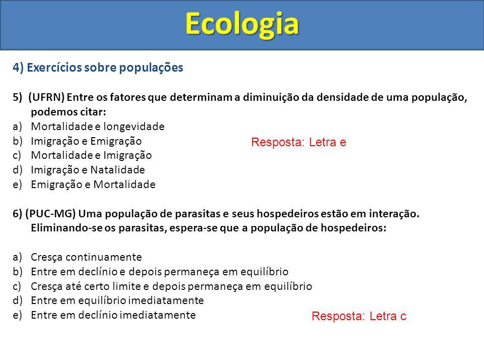 Ecologia 4) Exercícios sobre populações