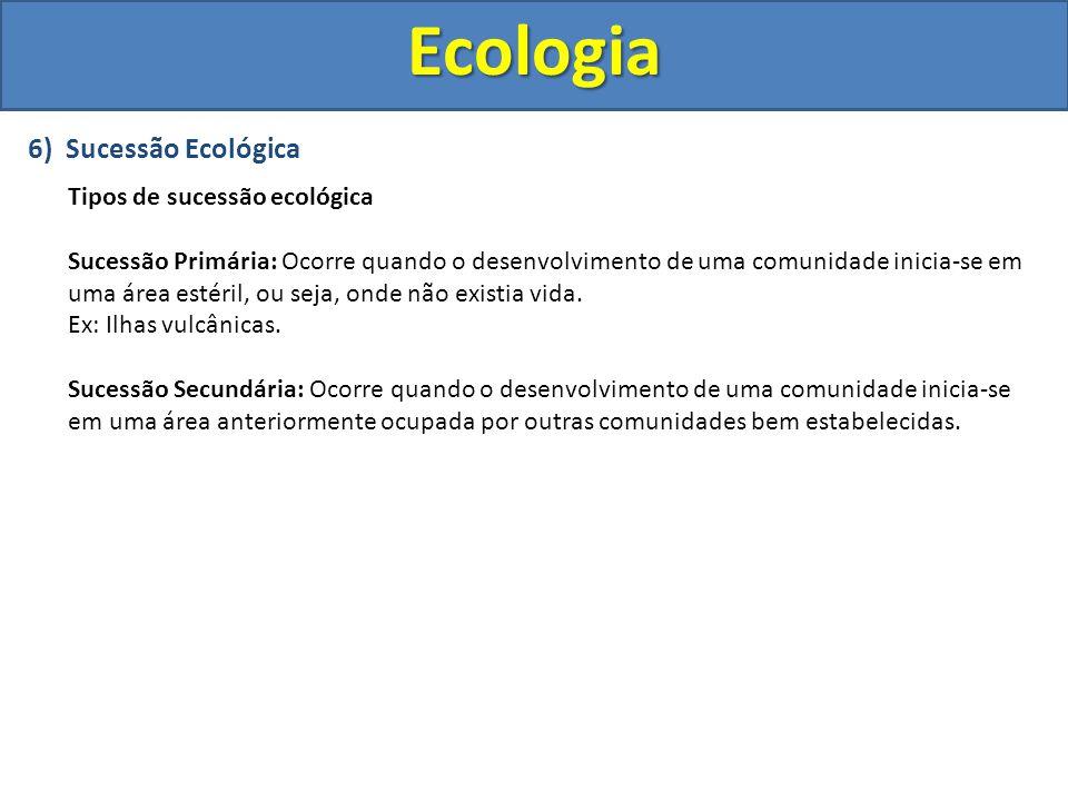 Ecologia 6) Sucessão Ecológica Tipos de sucessão ecológica