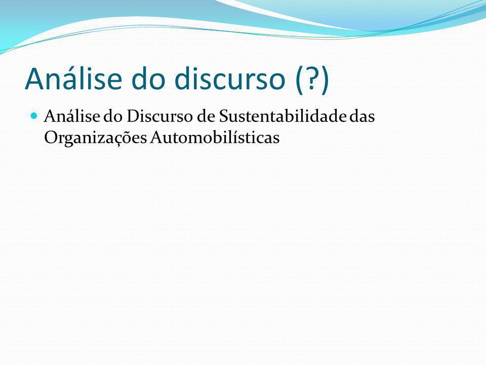 Análise do discurso ( ) Análise do Discurso de Sustentabilidade das Organizações Automobilísticas
