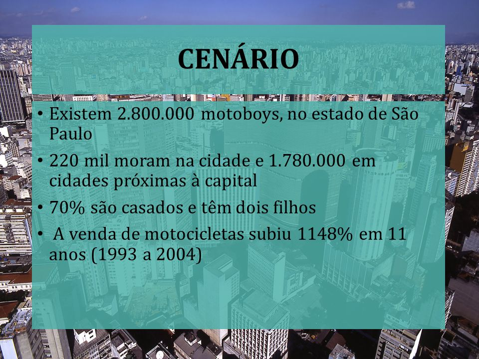 CENÁRIO Existem 2.800.000 motoboys, no estado de São Paulo