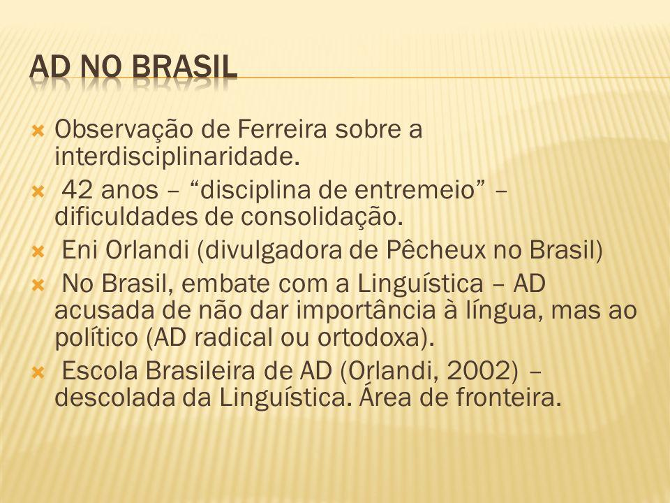 AD no Brasil Observação de Ferreira sobre a interdisciplinaridade.