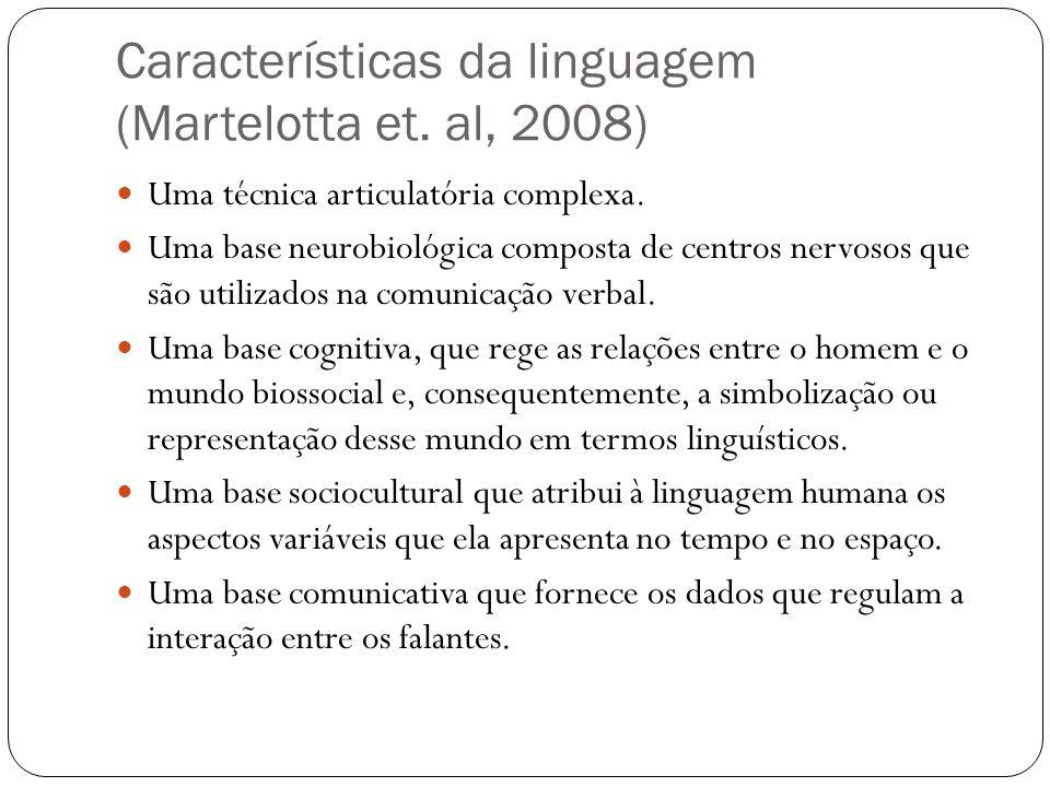 Características da linguagem (Martelotta et. al, 2008)