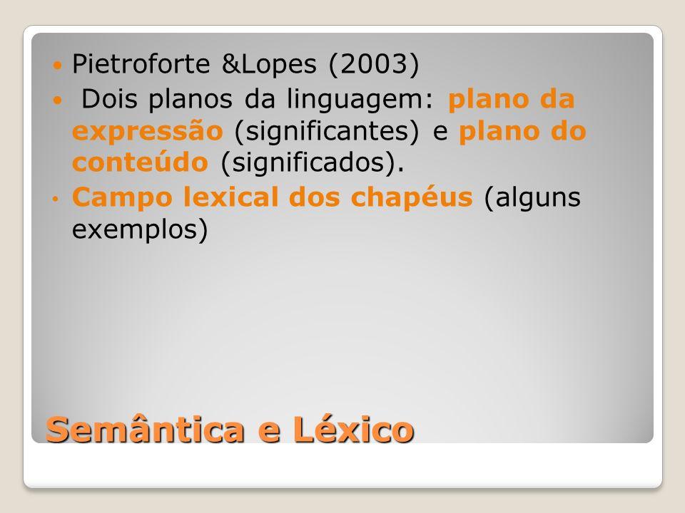 Semântica e Léxico Pietroforte &Lopes (2003)