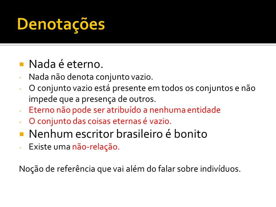 Denotações Nada é eterno. Nenhum escritor brasileiro é bonito