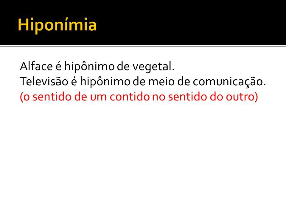 Hiponímia Alface é hipônimo de vegetal. Televisão é hipônimo de meio de comunicação.