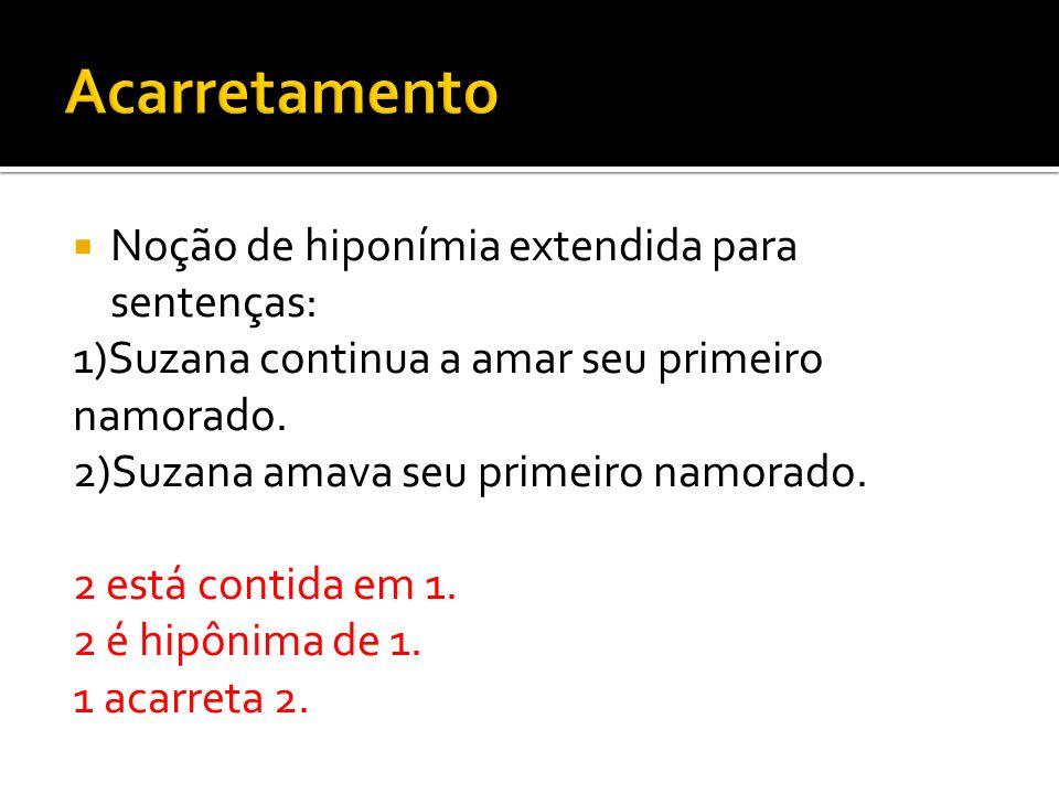 Acarretamento Noção de hiponímia extendida para sentenças: