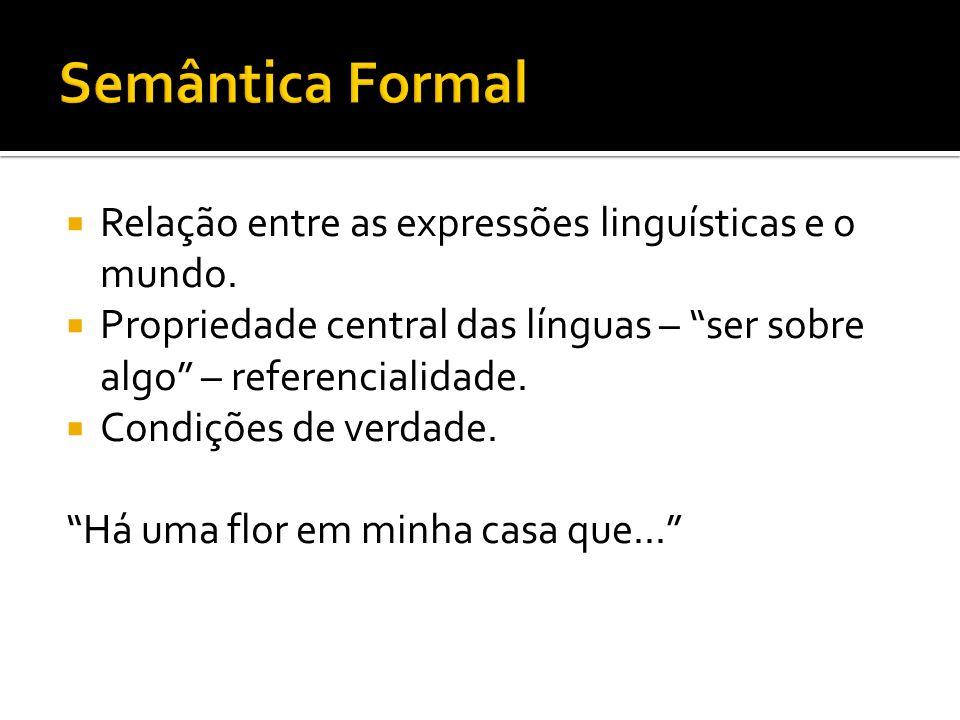 Semântica Formal Relação entre as expressões linguísticas e o mundo.