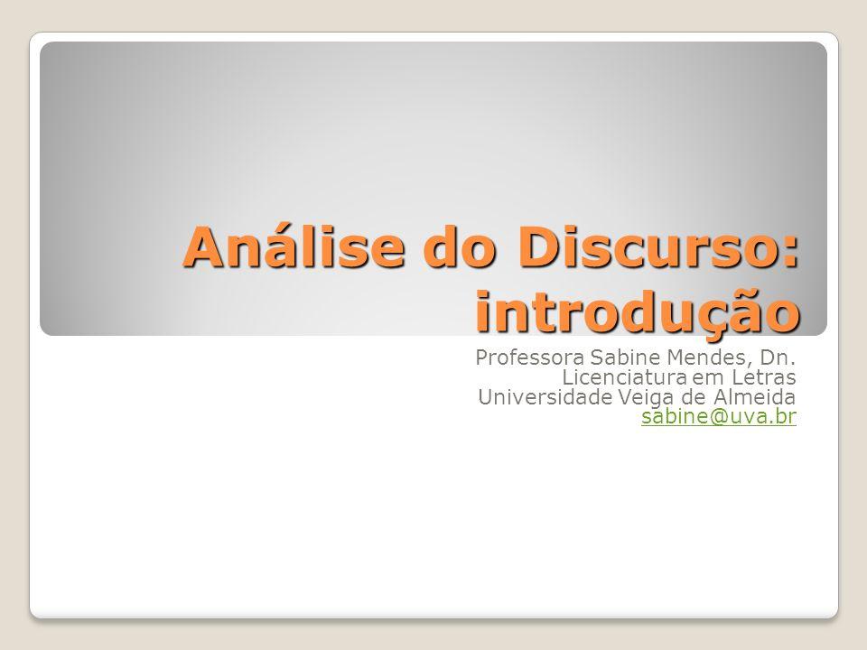 Análise do Discurso: introdução