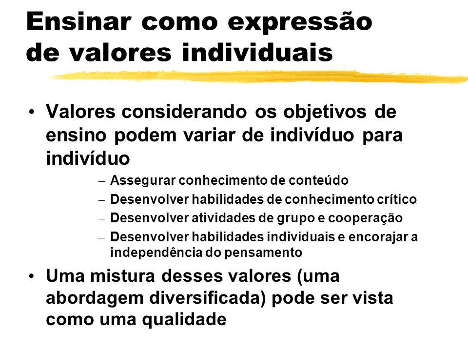 Ensinar como expressão de valores individuais