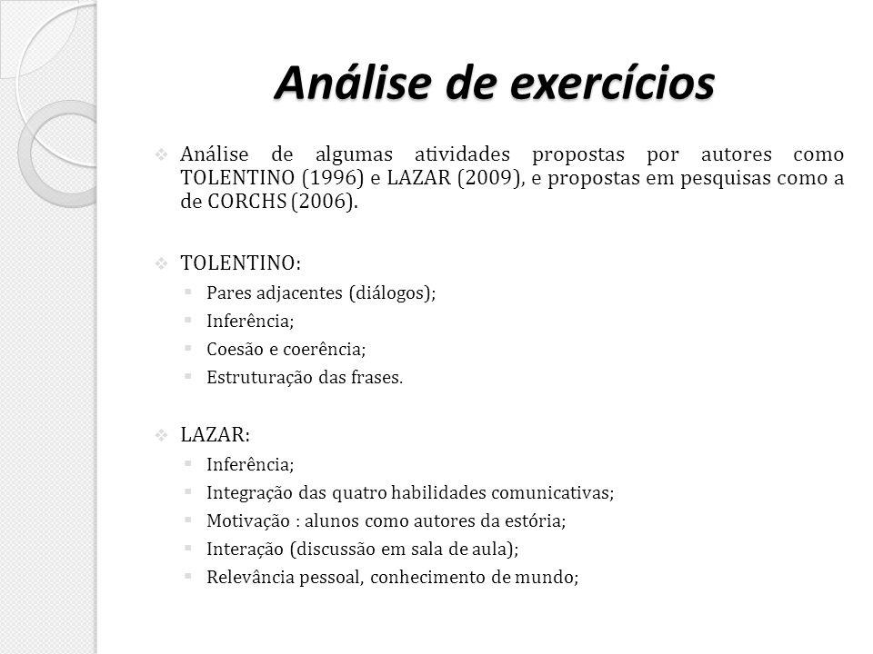 Análise de exercícios