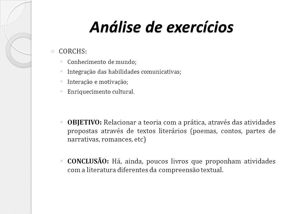 Análise de exercícios CORCHS:
