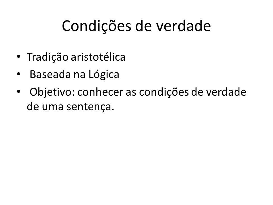 Condições de verdade Tradição aristotélica Baseada na Lógica