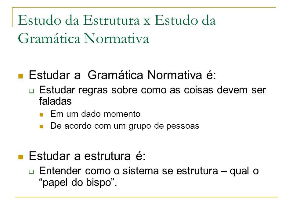 Estudo da Estrutura x Estudo da Gramática Normativa