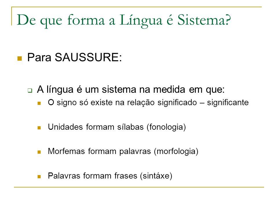 De que forma a Língua é Sistema