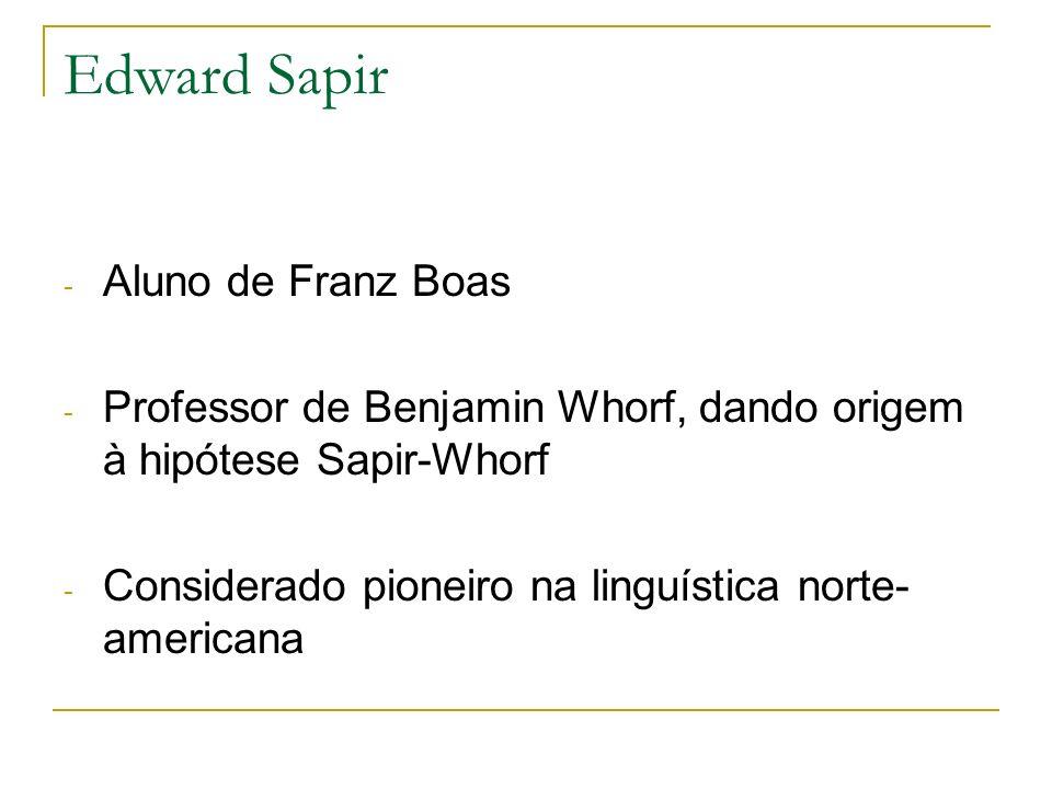 Edward Sapir Aluno de Franz Boas