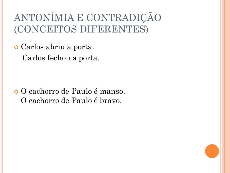 ANTONÍMIA E CONTRADIÇÃO (CONCEITOS DIFERENTES)