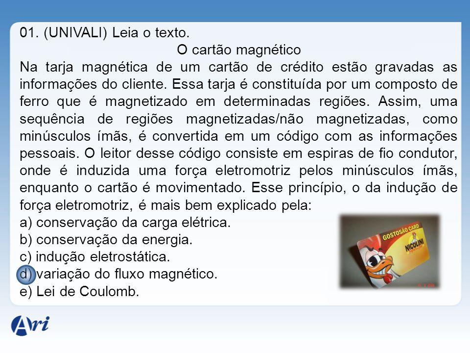 01. (UNIVALI) Leia o texto. O cartão magnético.