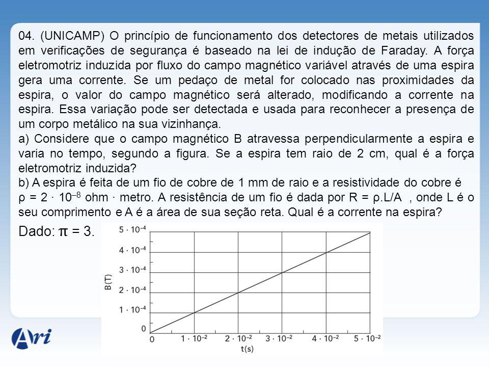 04. (UNICAMP) O princípio de funcionamento dos detectores de metais utilizados em verificações de segurança é baseado na lei de indução de Faraday. A força eletromotriz induzida por fluxo do campo magnético variável através de uma espira gera uma corrente. Se um pedaço de metal for colocado nas proximidades da espira, o valor do campo magnético será alterado, modificando a corrente na espira. Essa variação pode ser detectada e usada para reconhecer a presença de um corpo metálico na sua vizinhança.