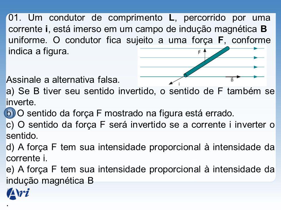 01. Um condutor de comprimento L, percorrido por uma corrente i, está imerso em um campo de indução magnética B