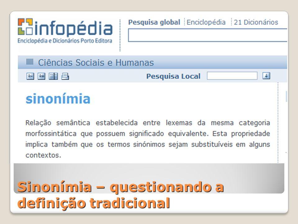 Sinonímia – questionando a definição tradicional