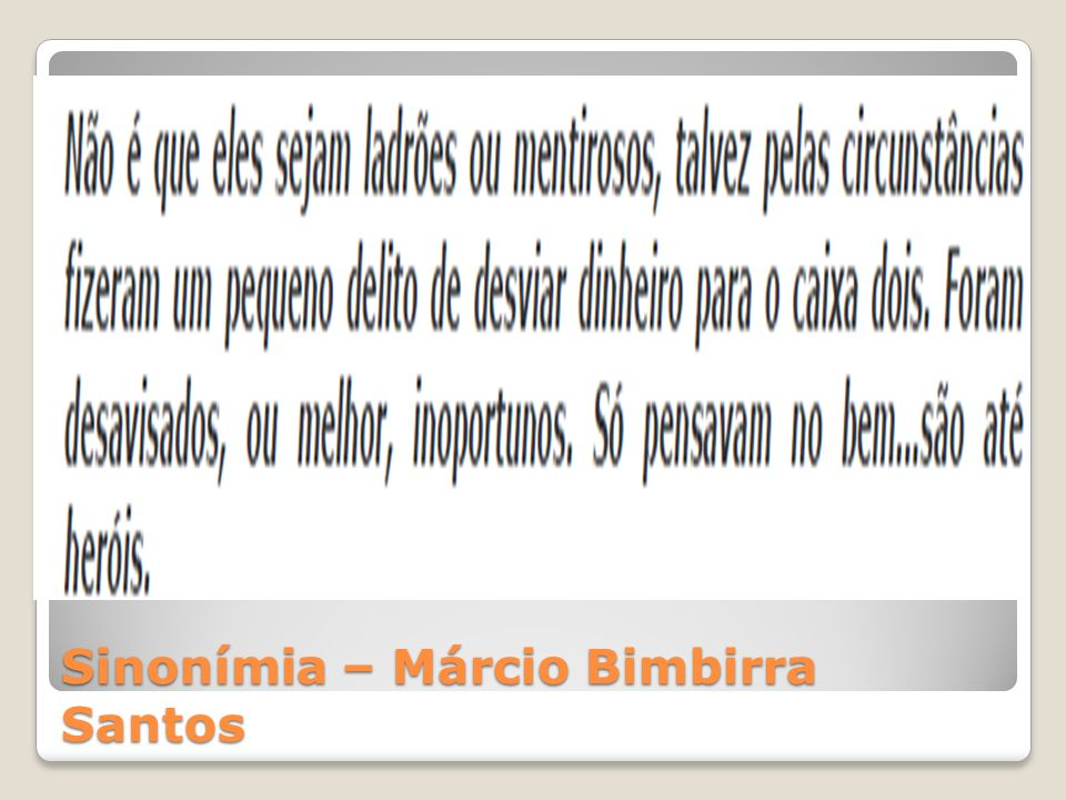 Sinonímia – Márcio Bimbirra Santos