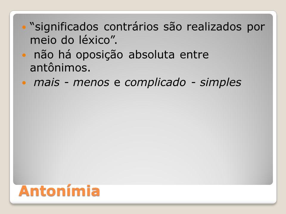 Antonímia significados contrários são realizados por meio do léxico .