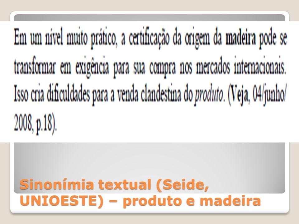 Sinonímia textual (Seide, UNIOESTE) – produto e madeira