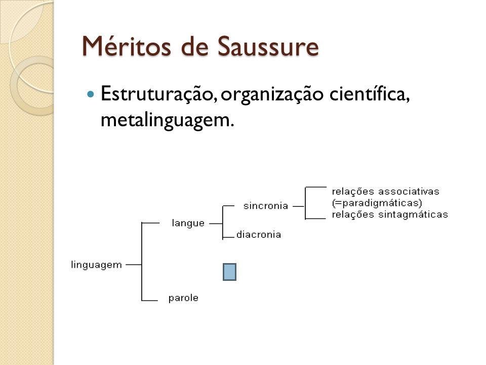 Méritos de Saussure Estruturação, organização científica, metalinguagem.