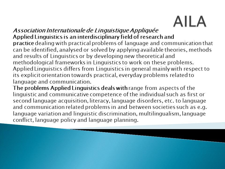 AILA Association Internationale de Linguistique Appliquée