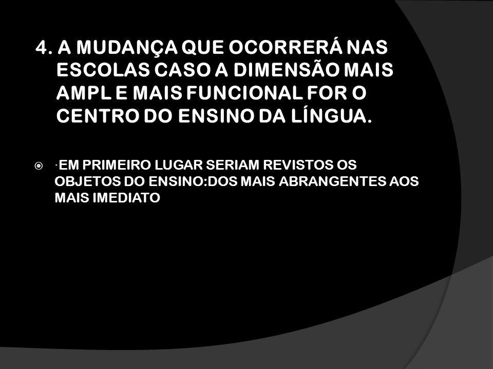4. A MUDANÇA QUE OCORRERÁ NAS ESCOLAS CASO A DIMENSÃO MAIS AMPL E MAIS FUNCIONAL FOR O CENTRO DO ENSINO DA LÍNGUA.