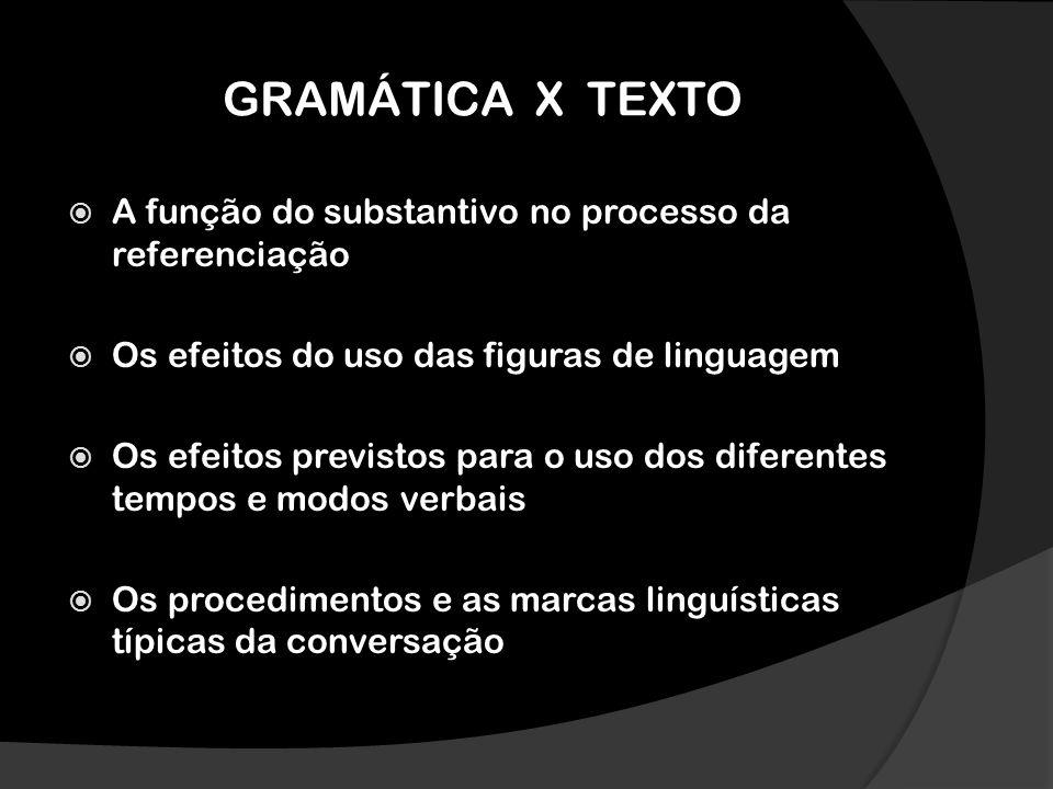 GRAMÁTICA X TEXTO A função do substantivo no processo da referenciação