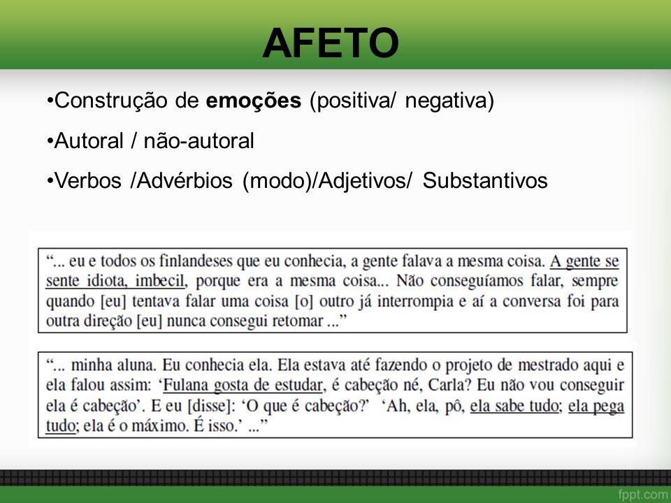 AFETO Construção de emoções (positiva/ negativa) Autoral / não-autoral