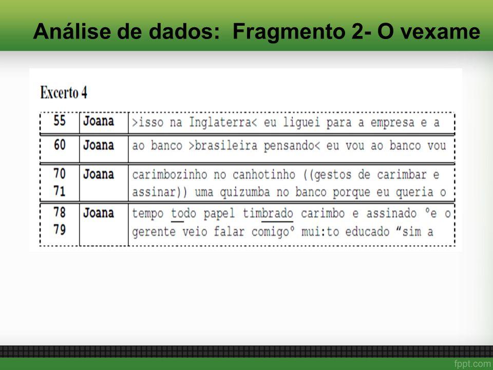 Análise de dados: Fragmento 2- O vexame