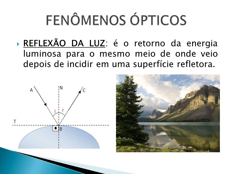 FENÔMENOS ÓPTICOS REFLEXÃO DA LUZ: é o retorno da energia luminosa para o mesmo meio de onde veio depois de incidir em uma superfície refletora.