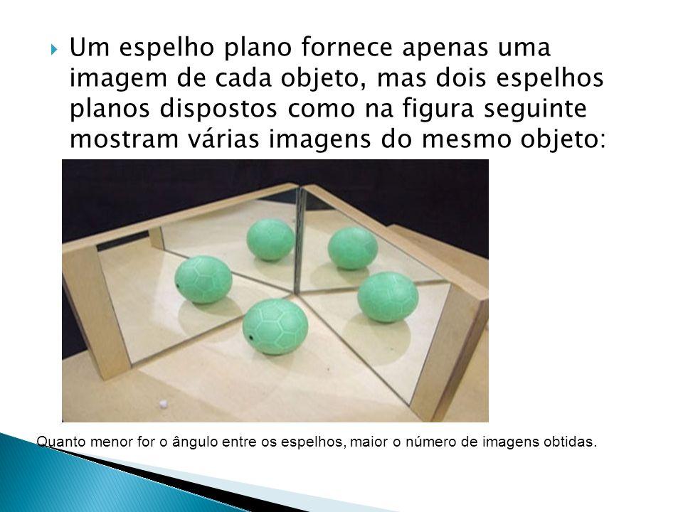 Um espelho plano fornece apenas uma imagem de cada objeto, mas dois espelhos planos dispostos como na figura seguinte mostram várias imagens do mesmo objeto: