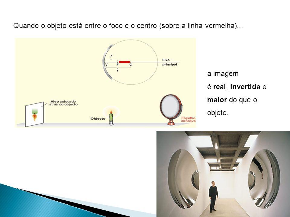 Quando o objeto está entre o foco e o centro (sobre a linha vermelha)...