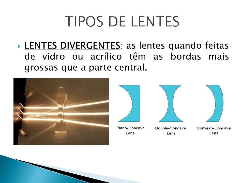 TIPOS DE LENTES LENTES DIVERGENTES: as lentes quando feitas de vidro ou acrílico têm as bordas mais grossas que a parte central.