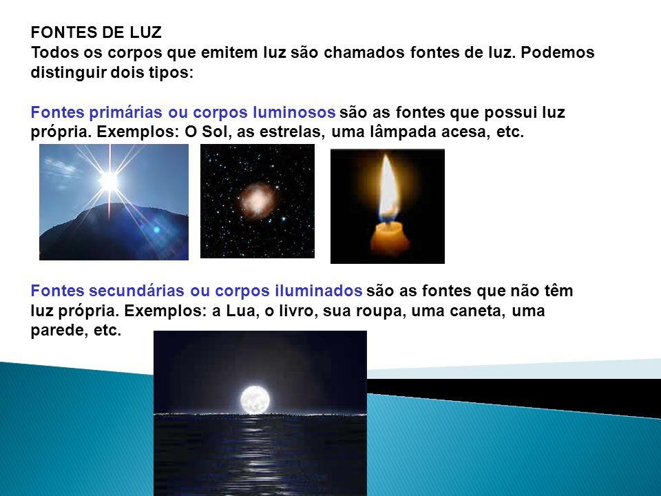 FONTES DE LUZTodos os corpos que emitem luz são chamados fontes de luz. Podemos distinguir dois tipos: