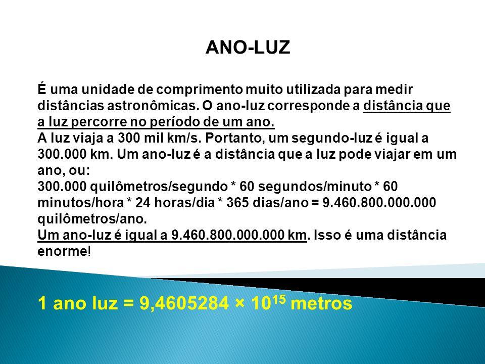 ANO-LUZ 1 ano luz = 9,4605284 × 1015 metros