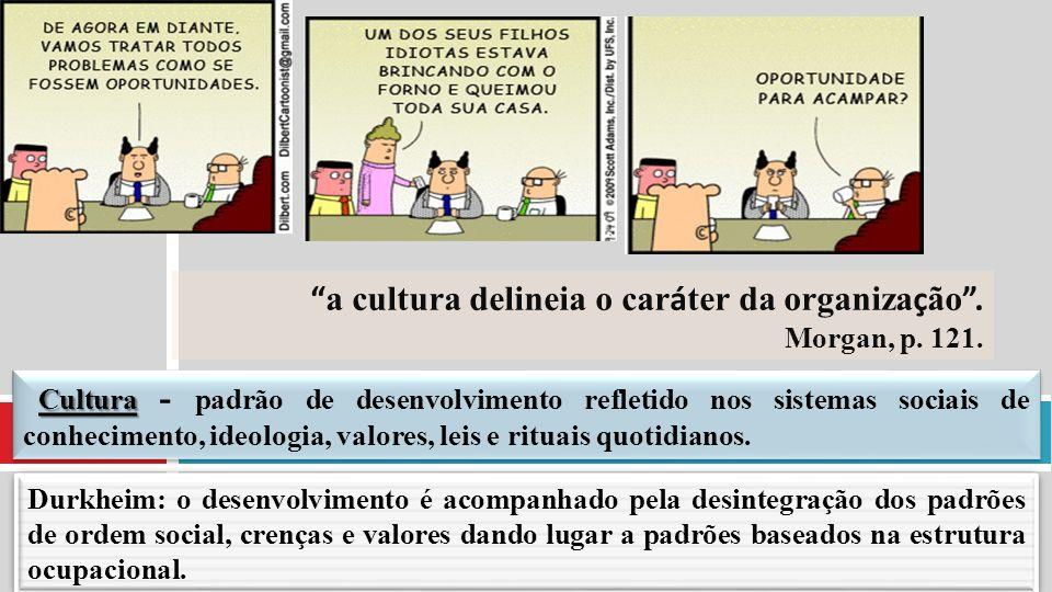 a cultura delineia o caráter da organização . Morgan, p. 121.
