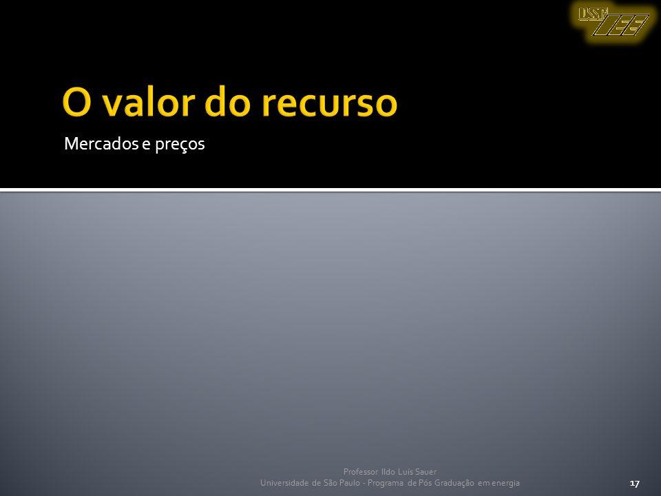 O valor do recurso Mercados e preços 17 Professor Ildo Luís Sauer