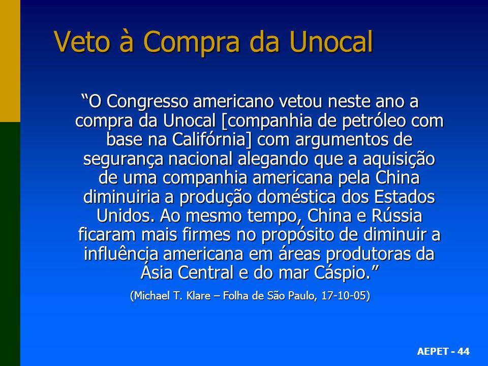 (Michael T. Klare – Folha de São Paulo, 17-10-05)